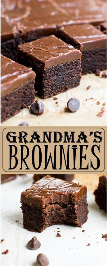 GRANDMA'S BROWNIES - A thick, moist and fudgy brownie topped with a fudge like frosting. #brownies #browniesrecipe