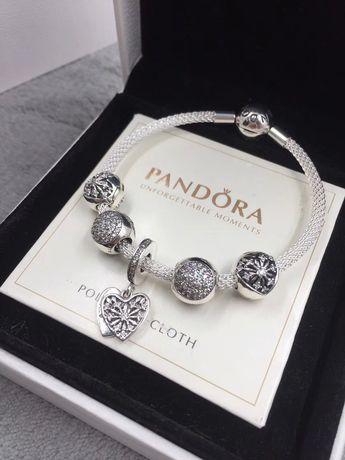 $146 Pandora heart of winter mesh bracelet
