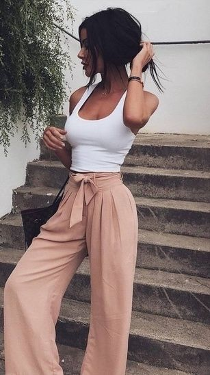 The simplest spring and summer outfit! If you already have a fitted white tank in your closet, choose from these TWELVE different pairs of wide leg pants (in a variety of colors and prices) - so cute and so easy! Plus add a little pop of gold for some extra sparkle. #shopthelook #springstyle #summerstyle #simplestyle #momstyle #datenight #ootd #girlsnightout #everydaystyle #weekendwear #festivallook #BeachVacation #TravelOutfit