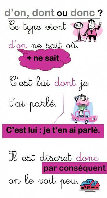 Une affiche pour les homophones d'on, dont et donc (niveau CM2) | MA MAITRESSE DE CM1-CM2 #frenchlanguagelearning