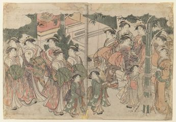 Kitagawa Utamaro, Courtesan`s Entourage at New Year`s Festival (1782-1788) #oshogatsu