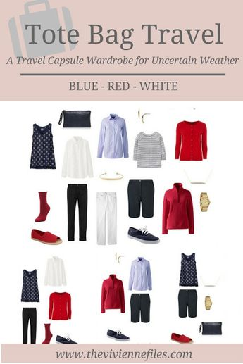 A Six Pack Travel Capsule Wardrobe: Red, White and Blue for Uncertain Weather