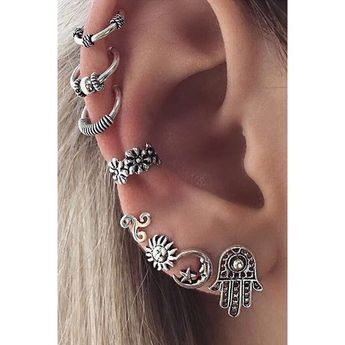 Barque Tribal Antiqued Silver Ear Cuff Earring 8 Pieces Set ❤ liked on Polyvore featuring jewelry, earrings, accessories, tribal ear cuff, barque, earring ear cuff, silver antique jewellery and ear cuff stud earrings