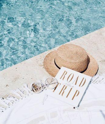 Summer essentials #poolside #pool #beach #towel #roundie #roundtowel #hat #book #sunnies #summer