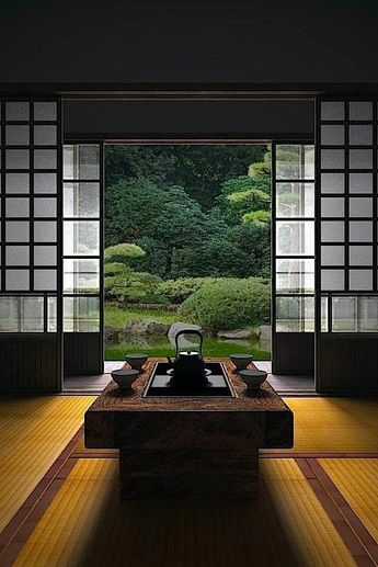 Japanese room, Washitsu 和室 I feel calmness just looking at this photo. Imagine if this were your everyday view! #japanesegardendesign