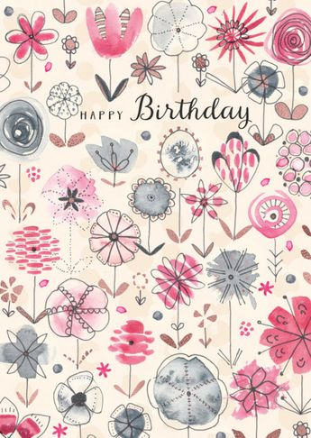Rebecca Prinn - RP Watercolour Copper Foil Flowers Birthday