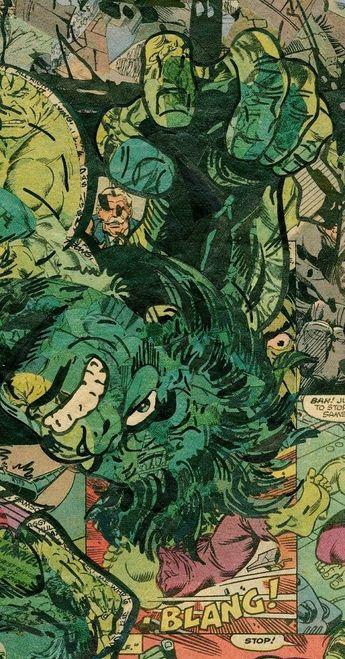 Anual Collage Comic Hulk  impresión de Giclee