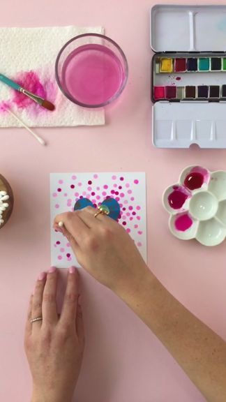 How to DIY Watercolor Heart Art for Valentines Day from Rachel Hinderliter (Line