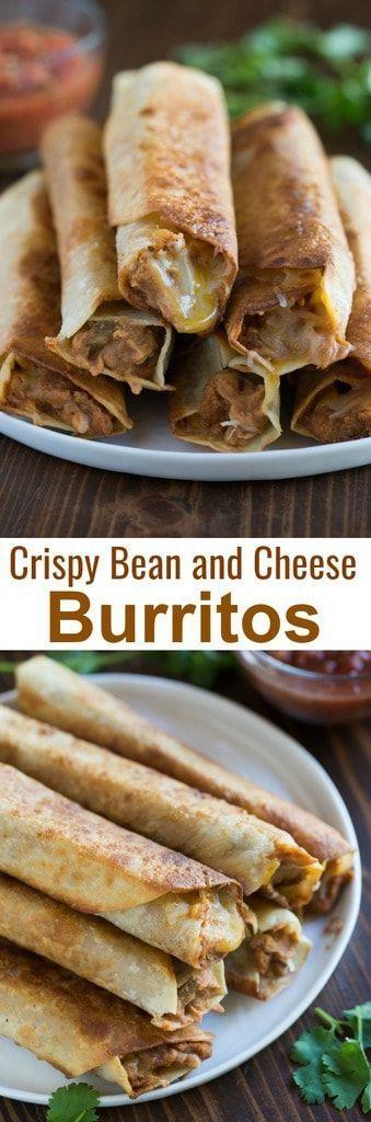Crispy Bean and Cheese Burritos - #-Burritos #Bean #Cheese #Crispy