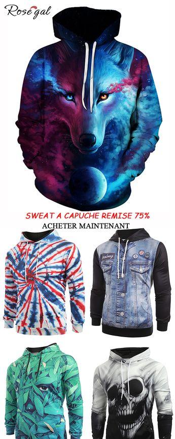 Sweat à capuche motif 3D chic pour homme #Rosegal #sweat-shirt #homme #mode #3D