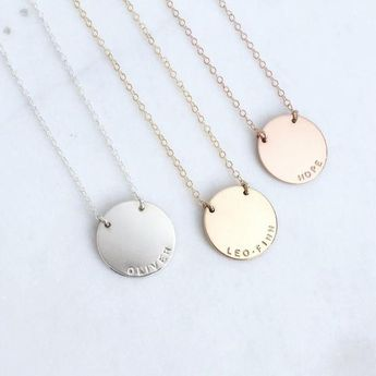 Personalized Gold Disc Necklace - Zola