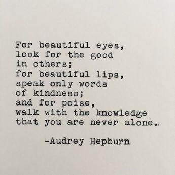 Audrey Hepburn Beautiful Quote Typed on Typewriter