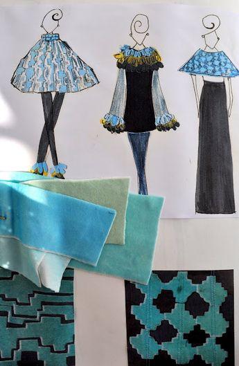 Fashion Textiles Sketchbook - fashion illustrations & patterned fabric samples; creative processes; fashion portfolio // Louise Grant