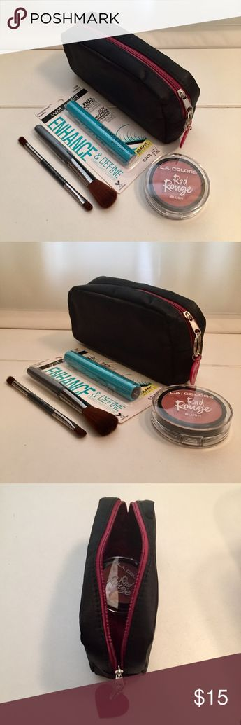 """Makeup Bundle Brush Blush cosmetic Bag Ipsy Bag with zipper closure: 3.25""""x6.5""""x1.5""""  Rad Rouge Blush CBL723 """"Awesome"""". Natural everyday makeup.  Ulta blush brush 5"""" long, perfect size for carrying out.  Ulta eyeshadow brush 4.75"""" long.  Wet n Wild Very Black Mascara for your """"on the go"""" makeup bag.  All new, never used. Makeup"""