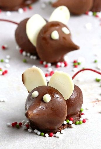 Chocolate Cherry Christmas Mice