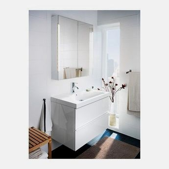 STORJORM Mirror cabinet w/2 doors & light - white