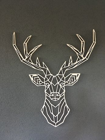 Wooden geometric animals for wall deer