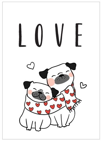 Carte Postale A6 - Collection Chien - Love #love #postcard #dogs #valentinesday