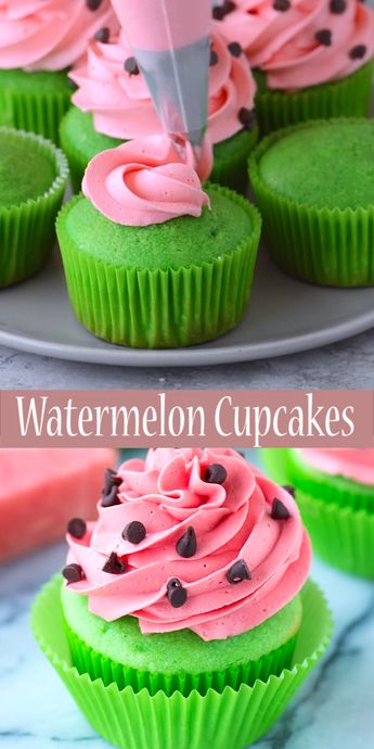 Watermelon Cupcakes! Bright green cupcakes with buttercream that tastes like watermelon! Add mini chocolate chips for the watermelon seeds! #watermeloncupcakes #cupcakes