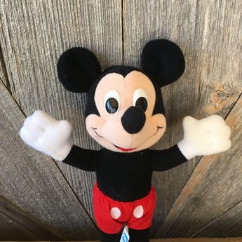 6e962eb8a80 Vintage Mickey Mouse Stuffed Toy Beanie Baby  Red Classic Mickey 9 inch  Toy  Playskool