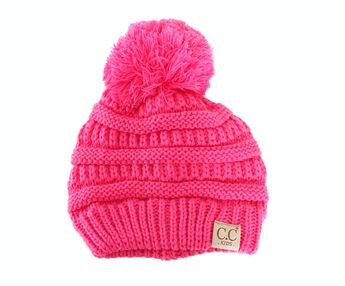 15d03e807ec C.C. Beanie Cable Knit Beanie with Pompom for Kids in New Candy  YJ847POM-NEWCANDY