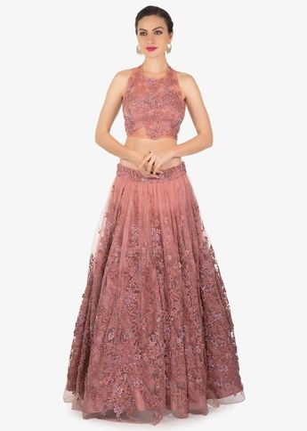 3a6fb26f3c Mauve Embroidered Net Lehenga Blouse and Organza Dupatta Set Only on Kalki