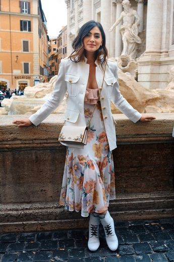 Exploring Rome in a Floral midi dress, white combat boots, a white blazer jacket #ShopStyle #shopthelook #SpringStyle #MyShopStyle #TravelOutfit #OOTD
