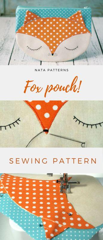 Bag pattern PDF Zipper Makeup bag pdf sewing pattern zipper cosmetic bag Makeup case pdf zipper pouch Fox pdf pattern Fox Animal gift PDF