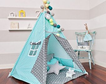 Teepee set with floor mat and pillows – Mint Heaven