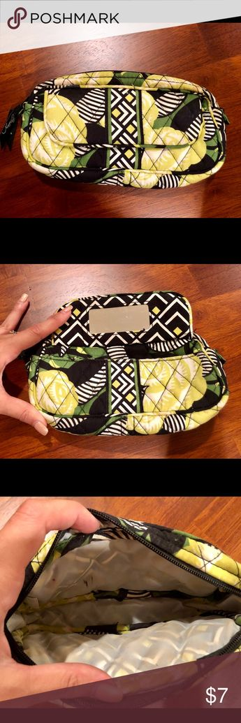 Vera Bradley make up bag Vera Bradley makeup bag with mirror! This has been used from make up so there are some makeup marks on the inside, however there is no major staining on the outside. This is the perfect size to include in your purse or gym bag! Vera Bradley Bags Cosmetic Bags & Cases