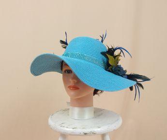 164ed70af07 Aqua Blue Hat   Church Hat   Derby Hat   Blue Floppy Hat   Sun Hat
