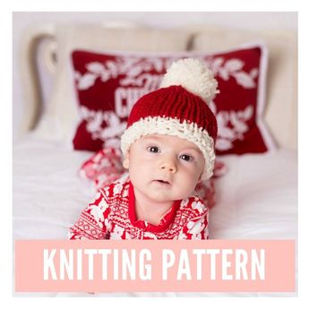 c7d2355ac8738 Santa Hat Knitting Pattern PDF Download - Make this hat with an easy to  print out