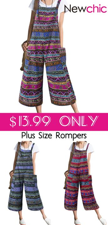 Hot Sale Bohemian Strap Plus Size Rompers For Only $13.99