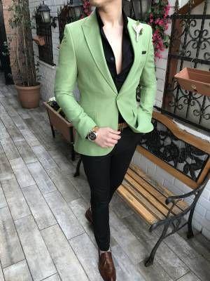 cf890ab269e13 Terziademaltun - İtalyan stil erkek slim fit blazer su yeşili tek ceket  T3292 (1)