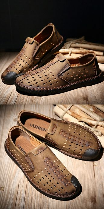 Amazon Men's Leather Summer Breathable Shoes Walking Slip On Loafers Casual Hiking Shoes