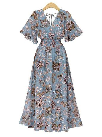 Short Sleeve High Waist Prints Women's Maxi Dress