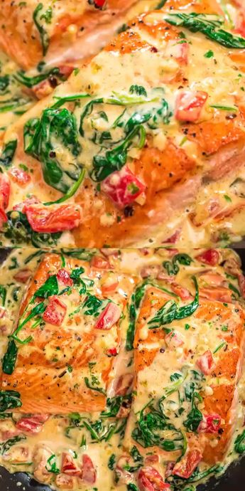 This Salmon in Roasted Pepper Sauce makes an absolutely scrumptious meal, worthy of a special occasion. Make this easy one-pan dinner in just 20 minutes! #salmon #dinner #fish #seafood #keto #recipeoftheday
