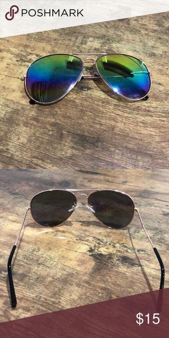 !SALE! aviator sunglasses with multicolored lenses Multicolored lenses with gold rims and black ear pieces, in very good condition Accessories Sunglasses