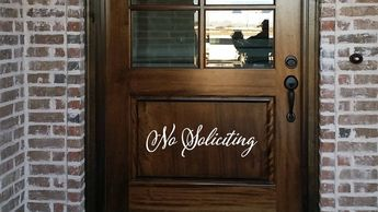 Cursive No Soliciting Door Decal/ Script Style No Soliciting Wall Words/Wall Transfer Sticker