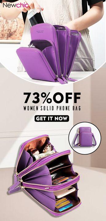 Women Solid PU leather Clutch Bag Card Bag Phone Bag Crossbody Bag