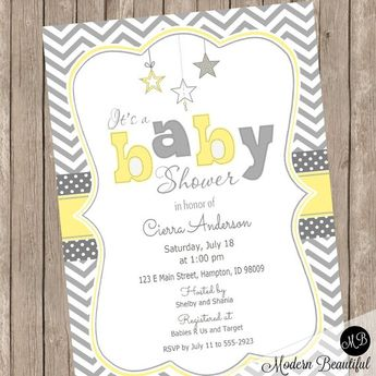 Yellow and Gray Star baby shower invitation, gender neutral baby shower invitation, star invitation, yellow and grey Star-Y