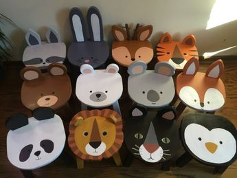 Panda Bear wooden toddler chair | Animal stools | Hand painted wood child chairs | Kids nursery room furniture | Jungle or Zoo animals