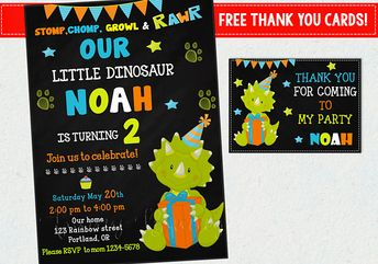 Dinosaur Birthday Invitation First Outfit Party Invite Dino