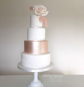 Blush Burgundy Rose Gold Lace Wedding Cake