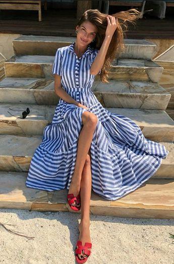 Blue striped Bohemian maxi dress