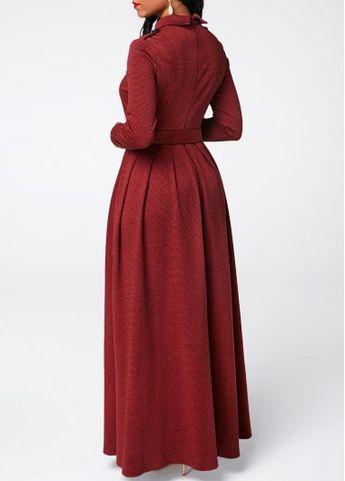 Belted Button Detail Long Sleeve Maxi Dress   liligal.com - USD $47.37