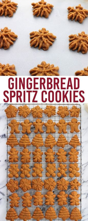 Gingerbread spritz cookies ~ classic flavors in this easily shaped version. This spritz cookie recipe (made using a cookie press) makes more than enough for a crowd.