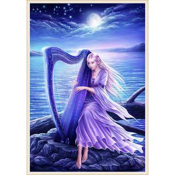 5D Diamond Painting Lavender Harp Kit