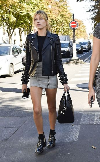 Parisian Grunge: Hailey Baldwin's Biker Skirt and Utility Boots Look for Less: