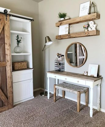 """Farmhouse Fanatics on Instagram: """"Double-tap if you're diggin' this rustic makeup vanity! 👆👆❤️💄 - 📸 @mrsdiy_ 📸 - I just adore that mirror and those floating shelves! 😍 Let…"""""""